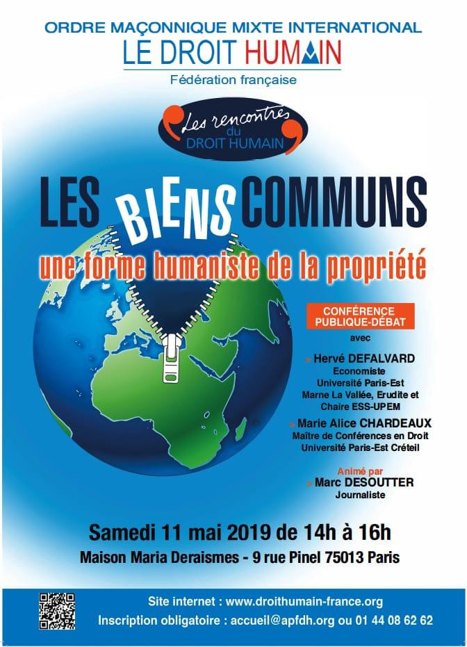 Conférence-débat les biens communs 11 mai 2019