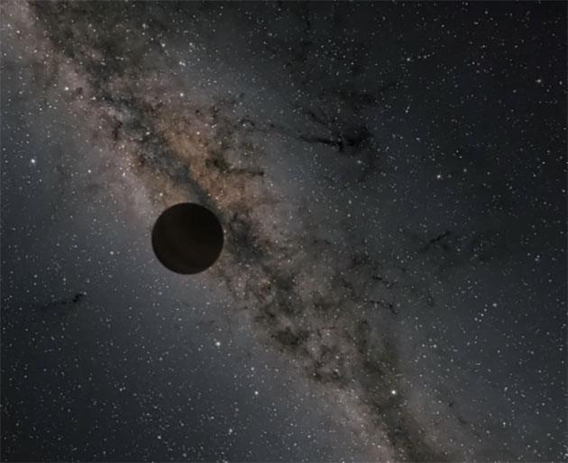 Grafische Darstellung eines befreit von einem Stern durchs All treibenden Einzelgängerplaneten (Illu.). Copyright: NASA