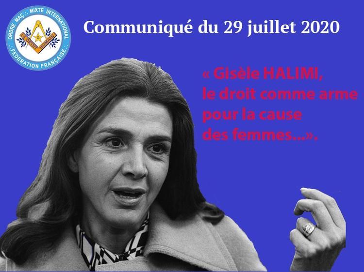Communiqué Gisèle Halimi - 29 juillet 2020