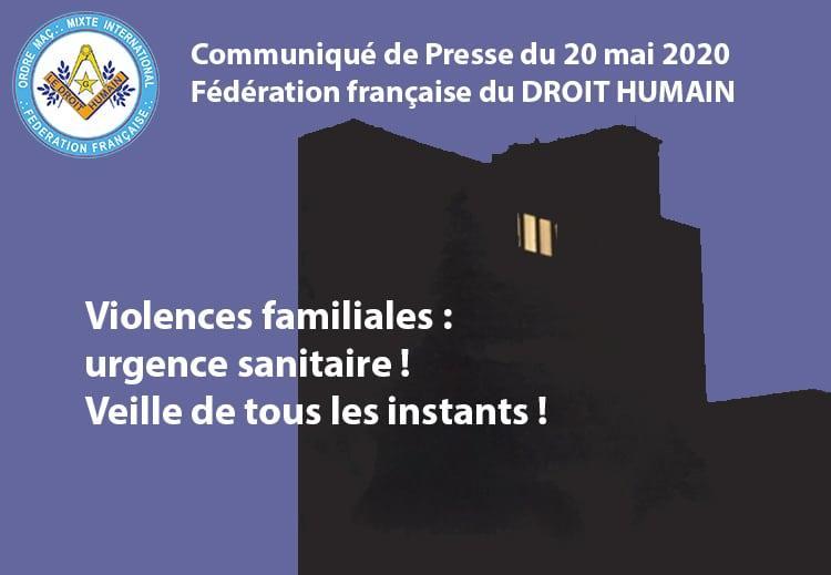 Communiqué du 20 mai 2020 - Violences familiales