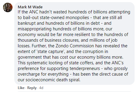Ramaphosa Facebook comment