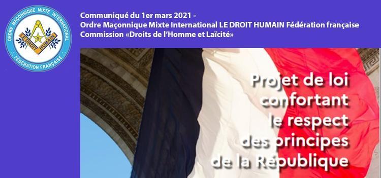 Communiqué du 1er mars 2021 - Respect des principes de la République
