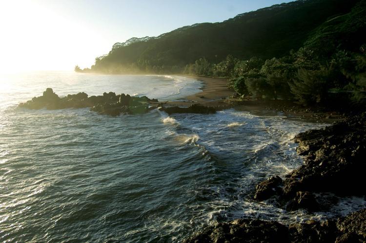 Un pan orama typique de la côte est de Tahiti : rochers batt us pa r les vagues, plages de sable noir et végétat ion luxuriante. © P. bacchet