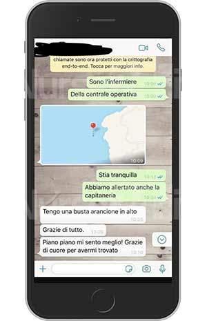 la conversazione whatsapp tra l'infermiere e l'escursionista