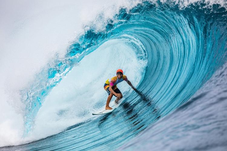 Le jeune surfeur tahitien Kauli'i Vaast, lors de la Tahiti Pro Teahupo'o
