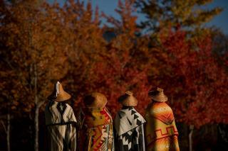 Four members of the Squamish and Lil'wat Nations, with their backs to the camrea, are each draped in a traditional Squamish or Lil'wat blanket.
