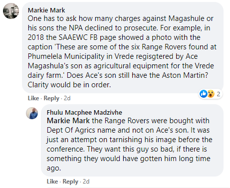 Magashule Facebook comment