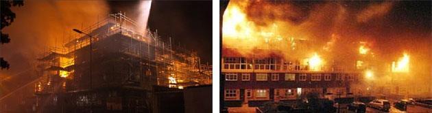 Incendio di edifici residenziali in Inghilterra