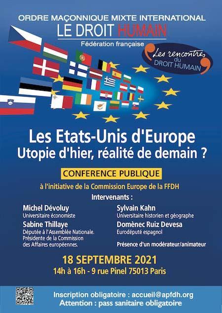 Etats-Unis d'Europe Conférence Publique le 18 septembre 2021