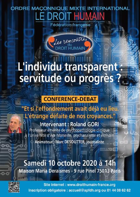 conférence publique du 10 octobre 2020 - l'individu transparent