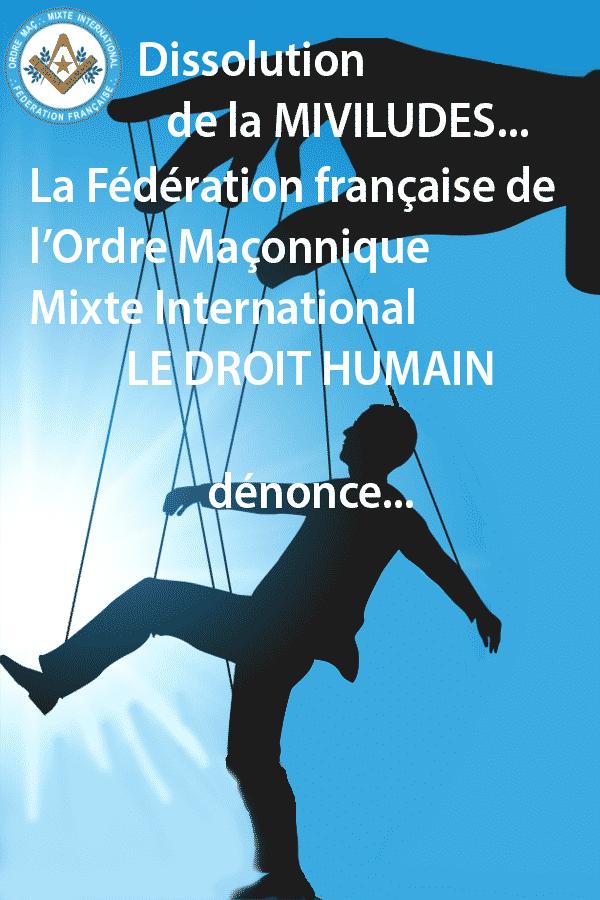 Dissolution de la Miviludes 2019 - communiqué du 5 octobre 2019 de la Fédération française du DROIT HUMAIN