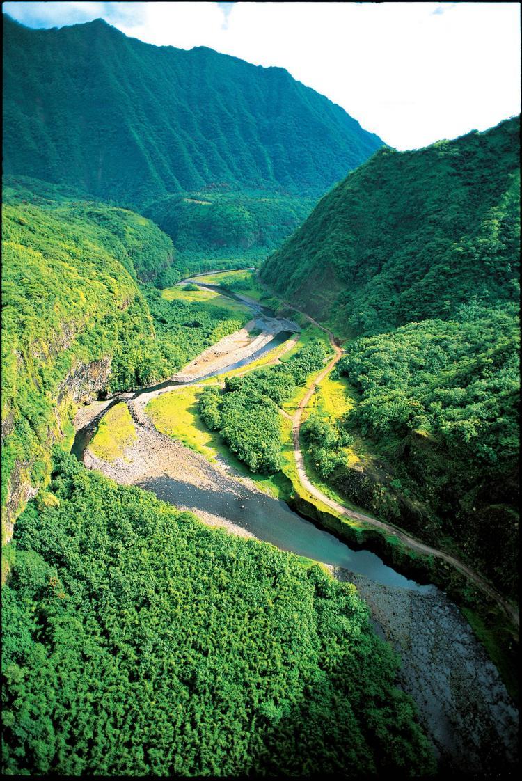 La plus grande vallée de Tahiti et sa rivière ; la Papenoo. - © P. Bacchet