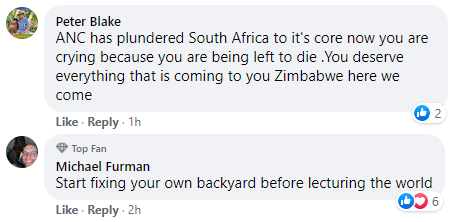 Cyril Ramaphosa vaccine hoarding Facebook comment