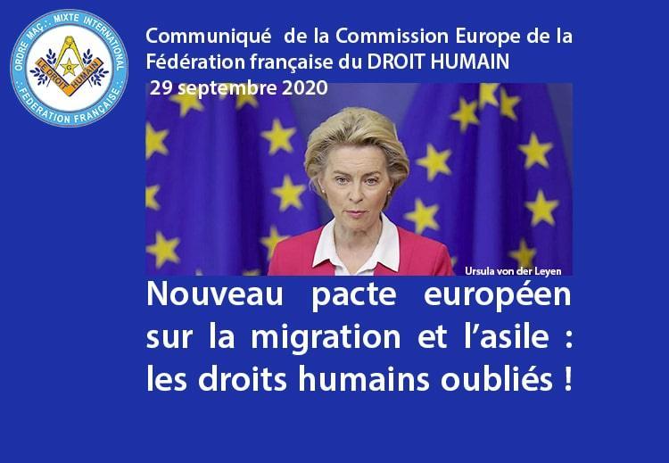 Communiqué de la Commission Europe du DROIT HUMAIN - Pacte européen sur la migration et l'asile