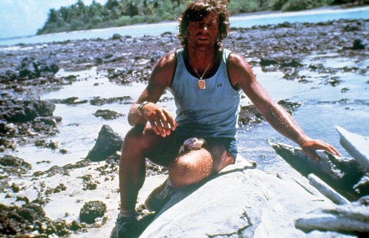 Jean-Pierre Marquant lors du tour à pied de l'atoll de Rangiroa (240 Km).