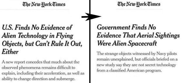Die veränderten Schlagzelilen der New York Times zu den jpngsten Leaks zum UFO-Bercht des Pentagon
